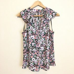 By Anthro   V-neck Floral Button Up Ruffle Blouse